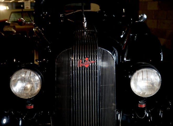 The front of a 1935 Pontiac four-door sedan on display at the yet-to-open Pontiac Transportation Museum in Pontiac on March 4, 2021. The museum located in the former Crofoot Elementary School hopes to open in the fall of 2021 and is seeking funds to turn the school into an event space and museum that will display a variety of vehicles made in the city of Pontiac.