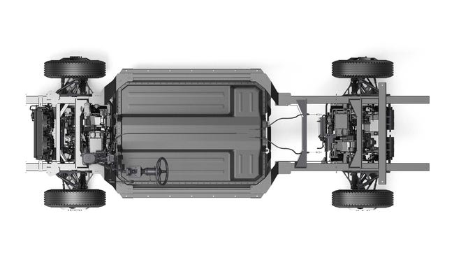 The CHASS-E electric, skateboard platform – which is the skeleton for all Bollinger models – starts at$55,000 for the RWD model, $57,500 for the dually, and $80,000 for AWD.