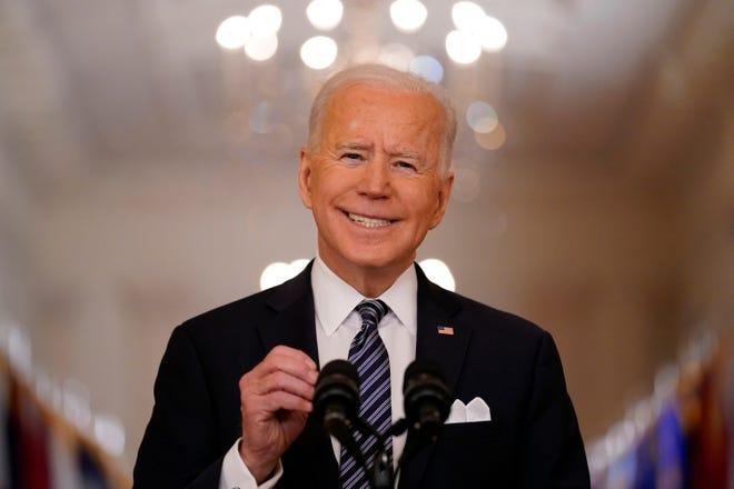 Presiden Joe Biden berbicara tentang pandemi COVID-19 selama pidato prime-time dari Ruang Timur Gedung Putih, Kamis, 11 Maret 2021, di Washington.