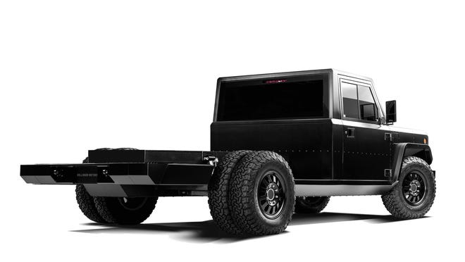 The B2 CHASS-E Cab pickup - a two-or-four door cab on which customers can purpose-build their own payload box - will come in three drive options: $70,000 for rear-wheel-drive, $72,500 dually, and $100,000 all-wheel-drive.