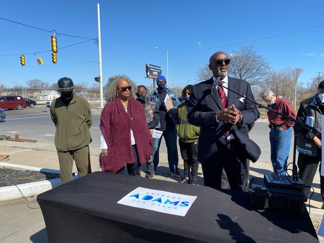 Detroit mayoral candidate Anthony Adams talks about plans to address crime during a news conference Friday, March 12, 2021.