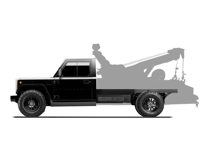 The B2 CHASS-E Cab pickup - a two-or-four door cab on which customers can purpose-build their own payload box. Like this tow truck.