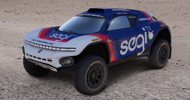 The Chip Ganassi Racing/Segi TV Extreme E racer is inspired by the GMC Hummer EV.