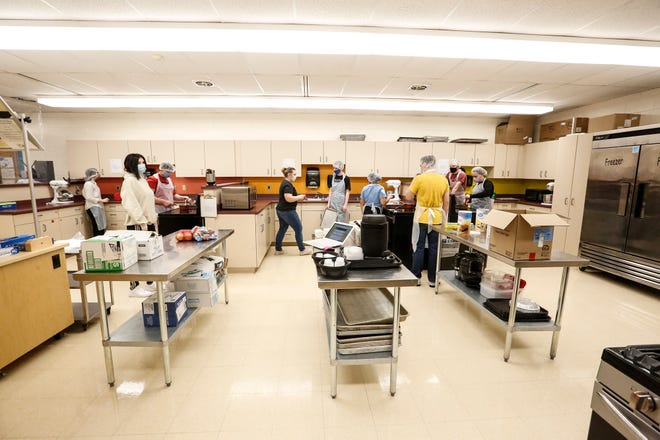 Culinary arts students work in kitchen labs at North Fond du Lac High School.