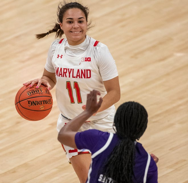 Maryland Terrapins guard Katie Benzan (11) brings the ball up court on Friday, March 12, 2021, during the women's Big Ten basketball tournament from Bankers Life Fieldhouse. Maryland won 85-52.