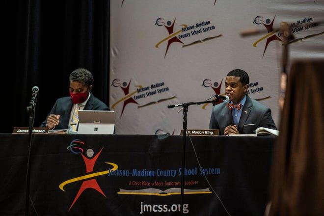 JMCSS Superintendent, Dr. Marlon King, speaks during a Jackson- Madison County School board meeting on Thursday, March 11, 2021 in Jackson, Tenn.