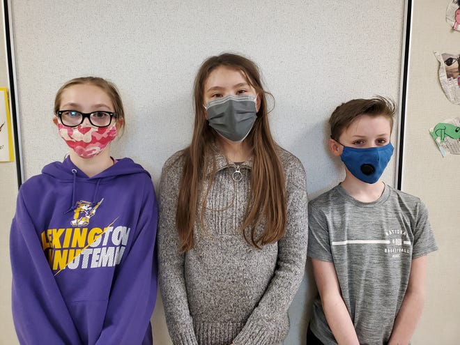 Jenna Halfhill ,left, won the annual Pi bee at Eastern Elementary School. Finishing second and third were Gianna Burt and Corbin Berry.