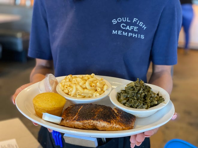 The Blackened Salmon entree at Soul Fish Cafe.
