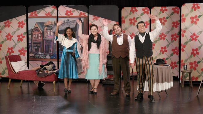 """Taylor-Alexis DuPont,  Emily Michiko Jensen, Nathaniel Catasca and Steve Valenzuela say goodbye at the close of Florentine Opera's performance for schools, """"La Bohème."""""""