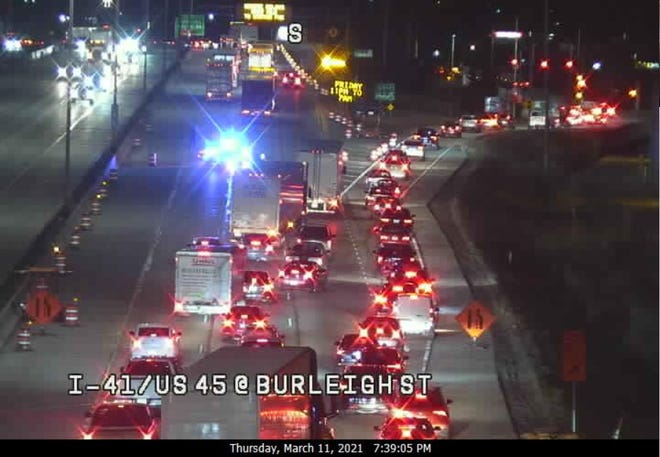 I-41/ US-45 closed at Burleigh Street due to a crash