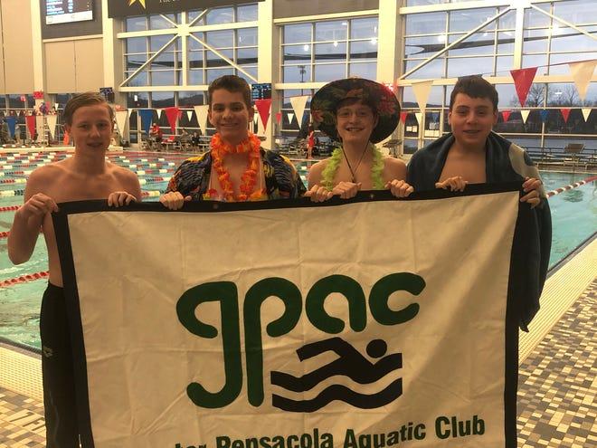 GPAC's winning boys relay (L to R: Braedan Jacobs, Kevin Herr, Logan Robinson, Max Little)