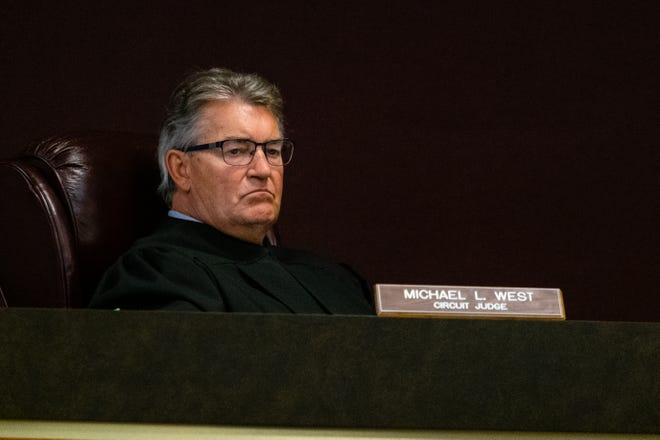 St. Clair County Circuit Court Judge Michael West presides over the trial for Joshua Bauman Friday, March 12, 2021, in the St. Clair County Courthouse in Port Huron.