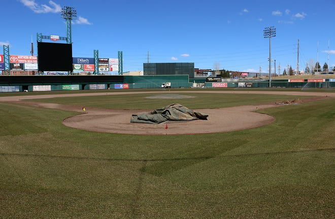 The brand new turf, specifically 365ss Kentucky Bluegrass, is seen at Greater Nevada Field in Reno on March 12, 2021.
