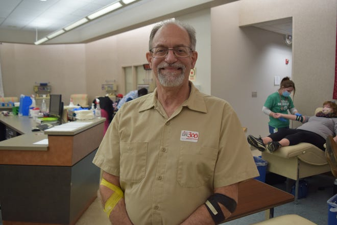Mike Rihm of Cambridge City recently made his 300th donation of blood.