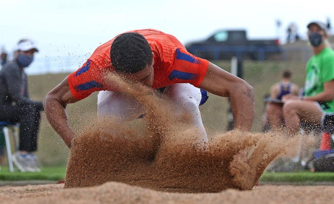 Kente Nichols competes in the long jump for Central on day 2 of the San Angelo Relays on Friday, March 12, 2021.