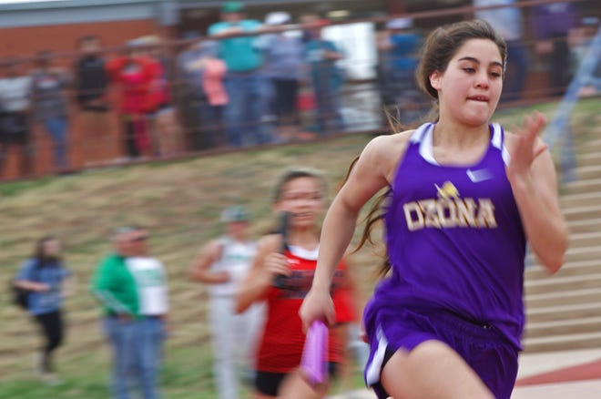 Runners compete in a relay event at the San Angelo Relays on Thursday, March 11, 2021.
