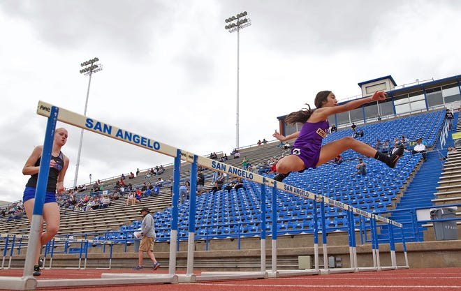 Runners compete in a hurdles event at the San Angelo Relays on Thursday, March 11, 2021.