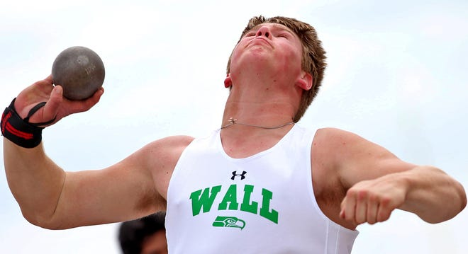 Tate Williams competes in the shot put for Wall during the first day of the San Angelo Relays on Thursday, March 11, 2021.