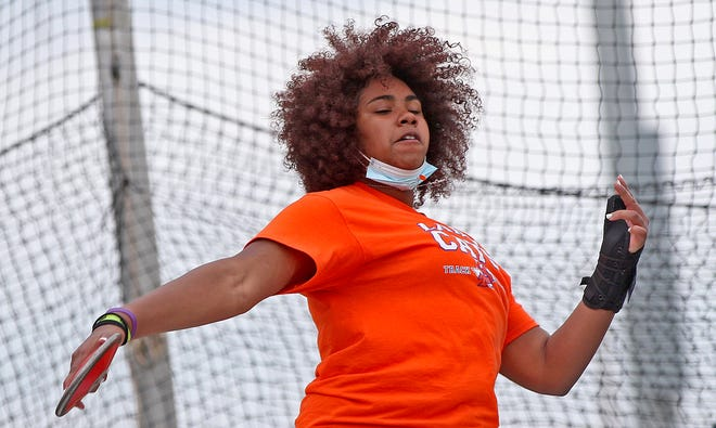 Layla Young competes in the discus event on day 2 of the San Angelo Relays on Friday, March 12, 2021.