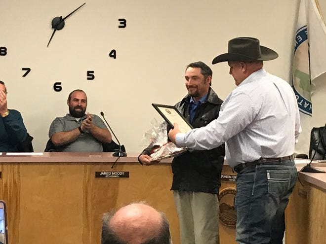 Enterprise resident Jason Knowles was recognizedduring an EnterpriseCity Council meeting on March 10 for his recent actions in aiding a woman who had fallen and broken her hip.