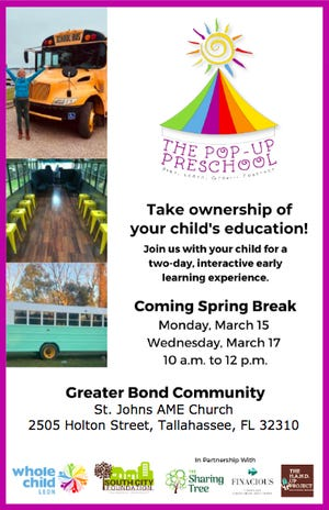A flyer for a 'popup preschool' concept coming to the Greater Bond Community during spring break, March of 2021.