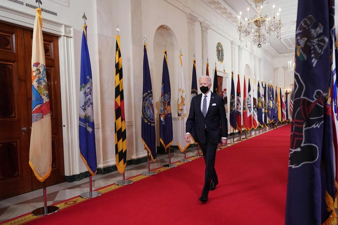 President Joe Biden arrives to deliver an address to the nation on the anniversary of the start of the COVID-19 pandemic on Thursday.