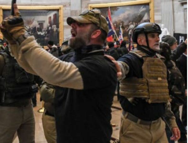 The FBI alleges these two Florida men, Kenneth Harrelson (left) of Titusville, and Graydon Young of Englewood, are among more than a dozen members of the Oath Keepers who participated in the Capitol riot on Jan. 6, 2021. The FBI states the Oath Keepers, a loosely organized paramilitary group, conspired in advance to plan their participation in the riot.