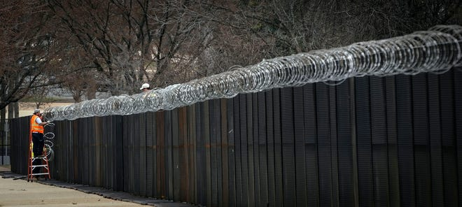 A security fence outside the U.S. Capitol on Friday.