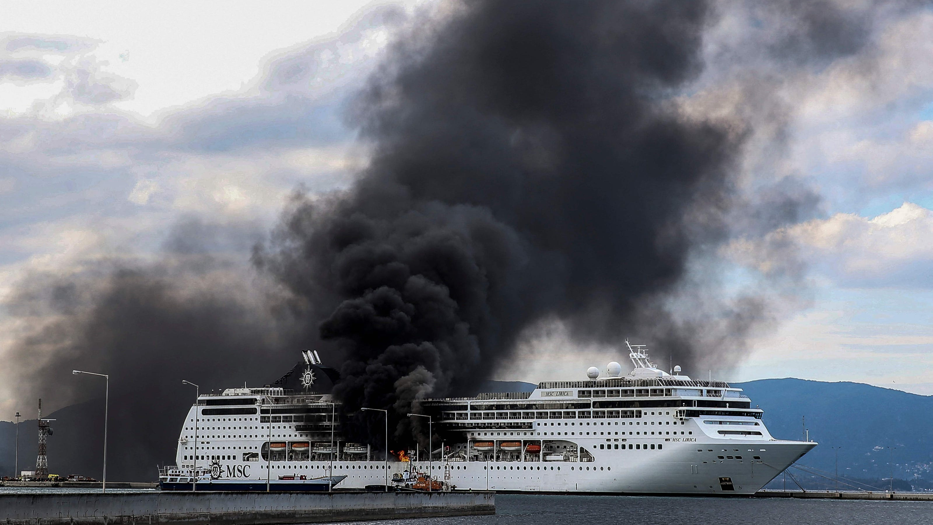 MSC Cruises ship catches fire while docked in Greek port; no injuries among skeleton crew