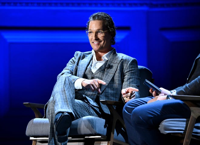 Matthew McConaughey speaks onstage during HISTORYTalks Leadership & Legacy presented by HISTORY at Carnegie Hall on February 29, 2020 in New York City.