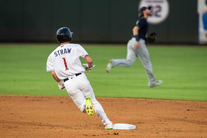Round Rock Express' Myles Straw rounds second base during a game versus San Antonio Missions at Dell Diamond in 2019. In 2021, Triple-A will experiment with larger bases. In an effort to reduce player injuries and collisions, bases will expand from 15 by 15 inches to 18 by 18.