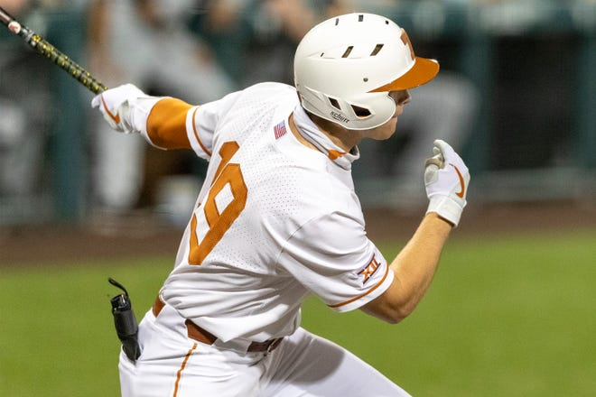 Texas batter Mitchell Daly connects for a single RBI against South Carolina during a game earlier this month. Daly drove in a run against the Oklahoma Sooners in the series finale Sunday.