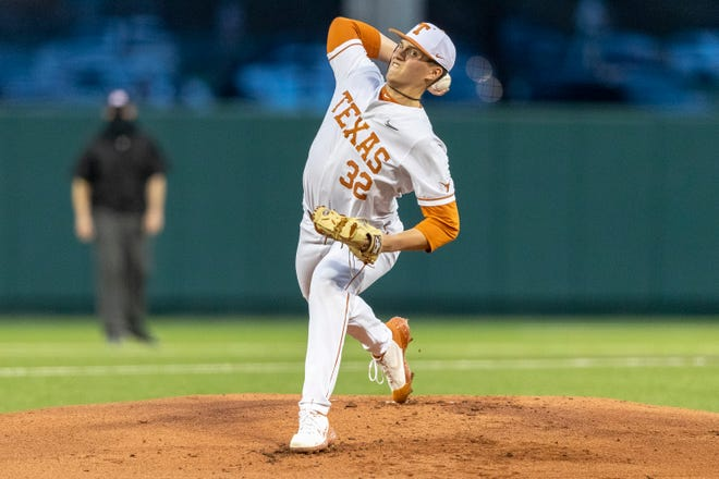 Texas pitcher Ty Madden, seen here against South Carolina, struck out nine batters on the way to leading the Longhorns to a 5-3 win over Baylor in the Big 12 opener Friday.