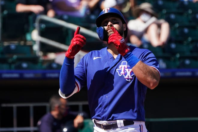 The Rangers' Joey Gallo gestures as he crosses the plate after a home run against Cleveland on Tuesday. Through eight spring training games, Gallo has hit five homers.