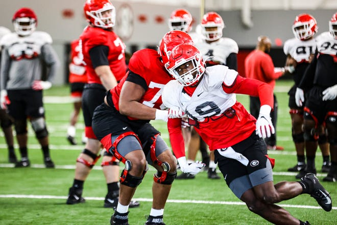 Georgia outside linebacker Adam Anderson (19) during the Bulldogs' practice session in Athens, Ga., on Monday, Nov. 16, 2020. (Photo by Tony Walsh)
