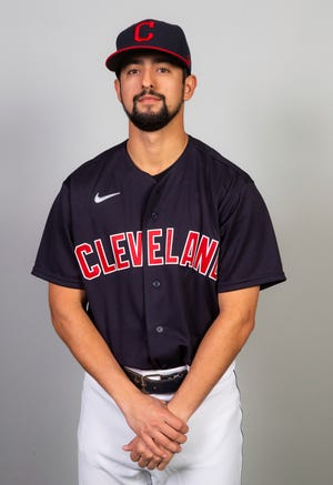 This is a 2021 photo of Nick Sandlin of the Cleveland Indians baseball team. This image reflects the Cleveland Indians active roster as of Saturday, Feb. 27, 2021 when this image was taken. (Rob Tringali/MLB Photos via AP)