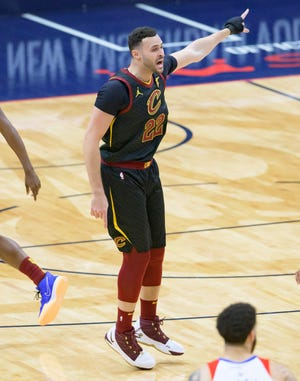Cleveland Cavaliers forward Larry Nance Jr. (22) calls for a play in the first half of an NBA basketball game against the New Orleans Pelicans in New Orleans, Friday, March 12, 2021. (AP Photo/Matthew Hinton)