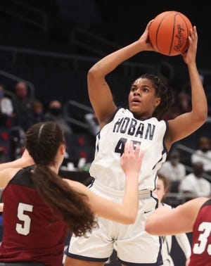 Archbishop Hoban junior Lanae Riley helped to lead the Knights to Division I state tournament and is a member of the Beacon Journal All-Star girls basketball team. [Mike Cardew/Beacon Journal]