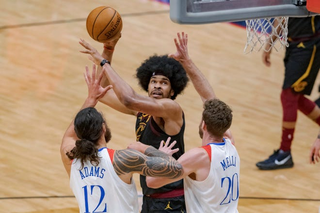 Cavaliers center Jarrett Allen (31) is adjusting as opposing teams turn more of their defensive focus on him. [Matthew Hinton/Associated Press]