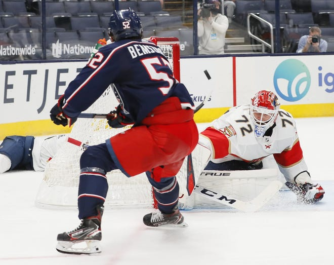 The Blue Jackets' Emil Bemstrom (52) is a hard-charging young player with potential, but the fact remains he has one point in 13 games for Columbus.