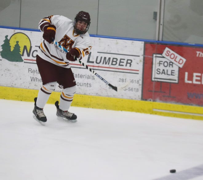 Brandon Boetcher in a game against Jamestown on Friday, March 12. Boetcher's two goals and two assists led Minnesota Crookston to a 6-0 win over Jamestown.