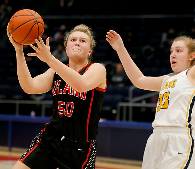 Hiland forward Zoe Miller shoots inside against Ottawa-Glandorf during the Hawks' Division III state championship win.