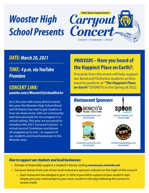 The Wooster High School music department is presenting a Carryout Concert March 20.