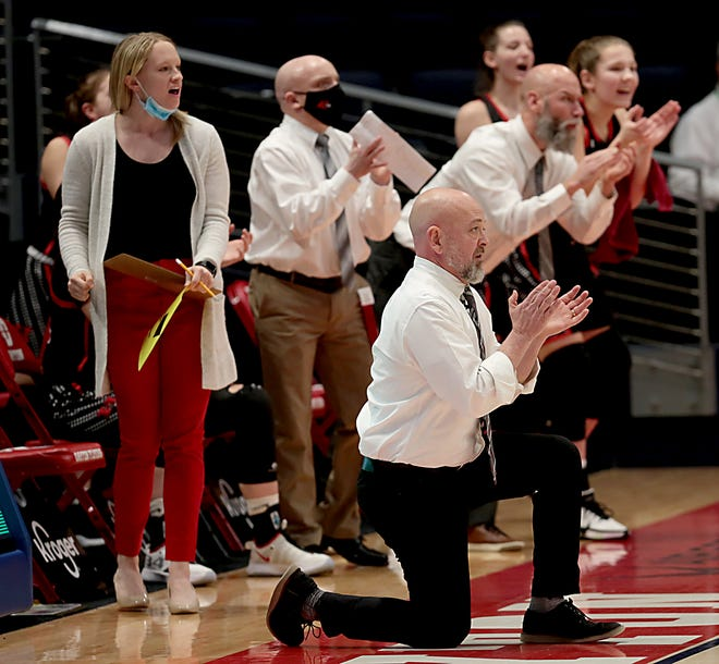 Hiland's Dave Schlabach coaches his final game for the Hawks -- a 45-25 state championship victory.