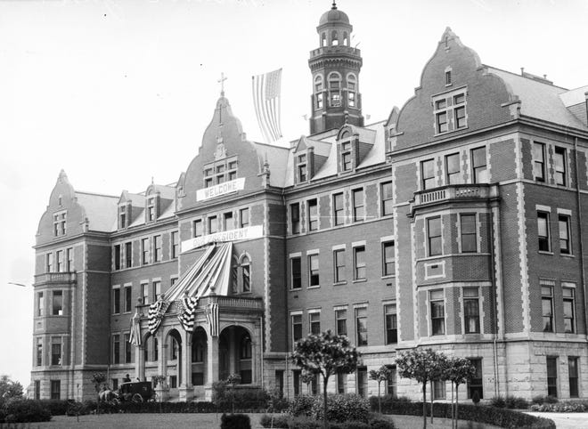Monroe's St. Mary Academy, which was dedicated on November 21, 1905, was adorned with presidential regalia in June, 1910, to honor President William Howard Taft's visit to dedicate the Custer Statue now located nearby on the River Raisin side of Elm Avenue.