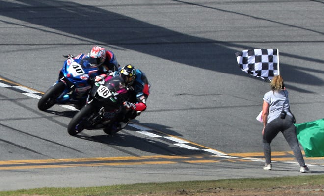 Brandon Paasch utilized the draft perfectly on Saturday's final lap, passing Sean Dylan Kelly as the two came to the checkered flag.