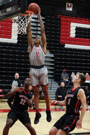 Southeastern Community College's Jesiah West (12) dunks the ball during their game against Northeast Community College, Saturday March 13, 2021 at SCC's Loren Walker Arena.