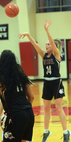 Bethel junior Kendall Michalski scored 20 points in a 67-50 loss to Vanguard University in the NAIA National Tournament opening round Friday in Wichita.