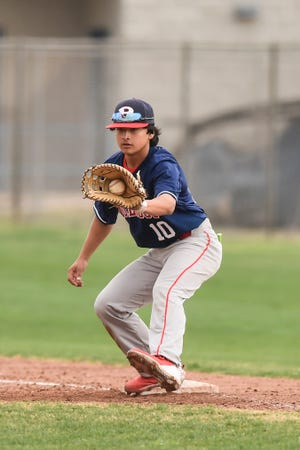 Plainview's Tyler Rodriguez (10) catches a ball to force a runner out at first base during a nondistrict contest March 13 against Estacado on March 13 at Estacado High School.