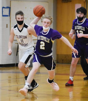 Waterville's Tyson Maxam throws an outlet pass to a teammate during a game Saturday, March 13, 2021 at Clinton. Maxam had 23 points in Waterville's 72-55 win.